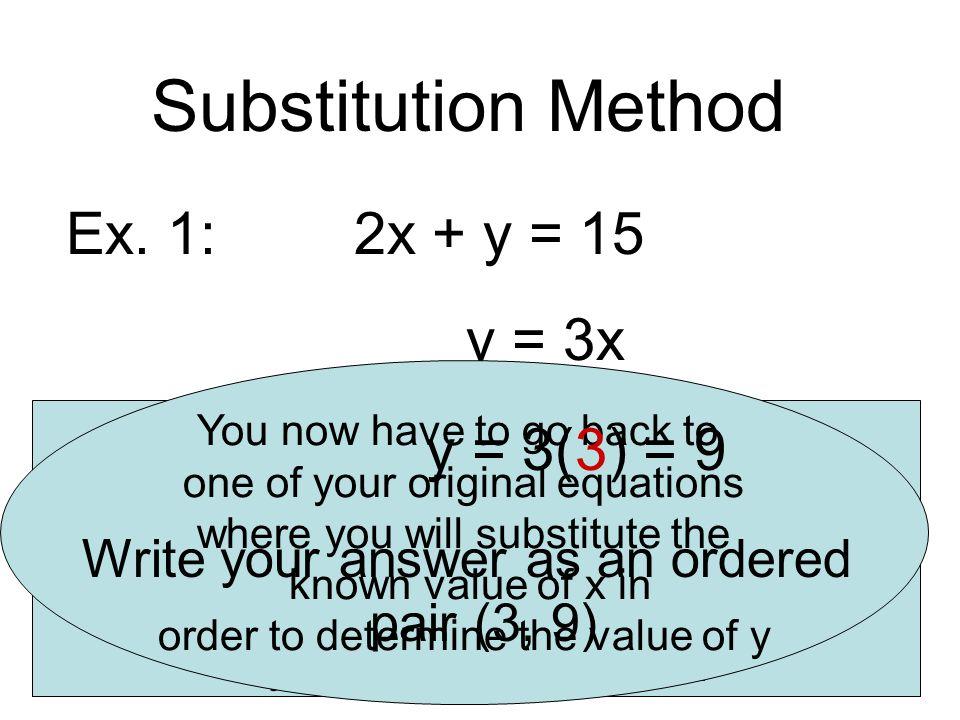 Substitution Method Ex.