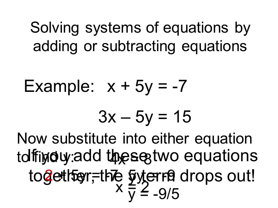 Solving systems of equations by adding or subtracting equations Example: x + 5y = -7 3x – 5y = 15 If you add these two equations together, the y term drops out.