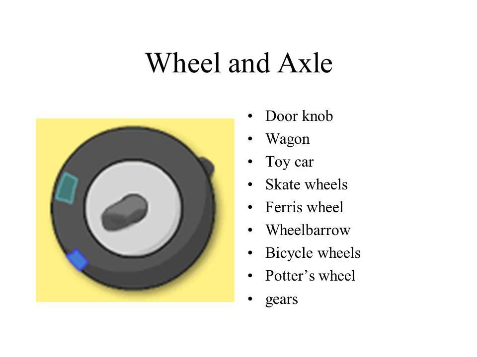 Wheel and Axle Door knob Wagon Toy car Skate wheels Ferris wheel Wheelbarrow Bicycle wheels Potter's wheel gears