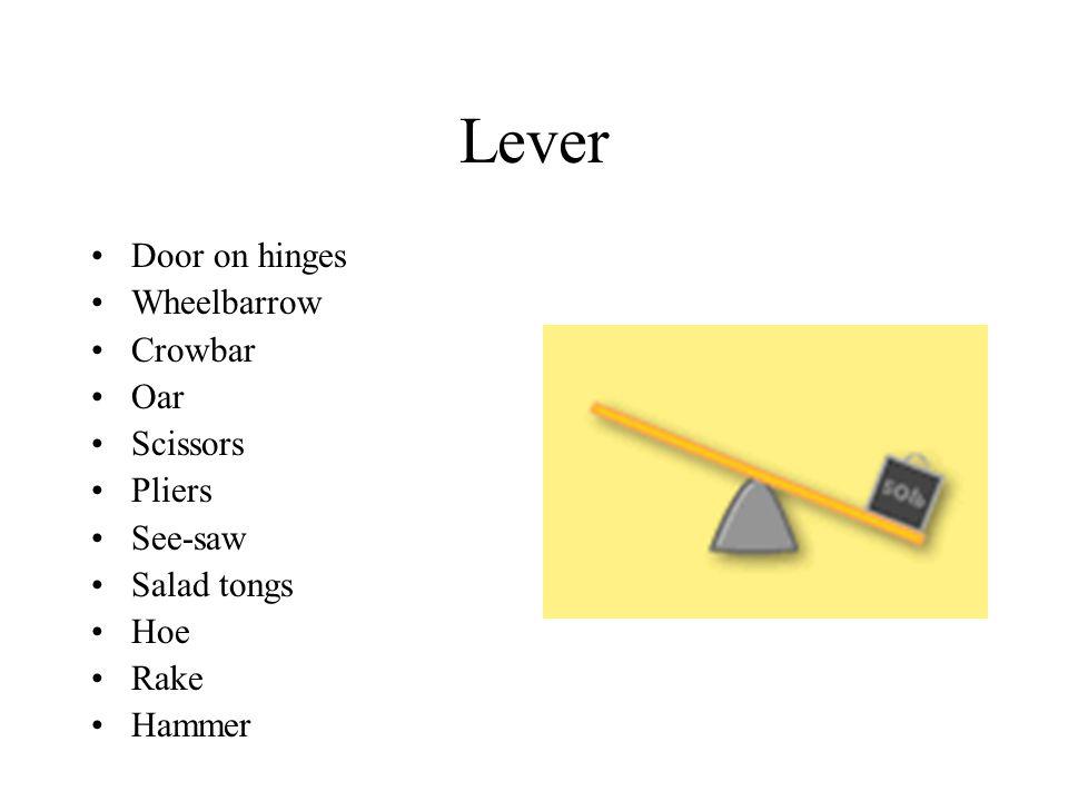 Lever Door on hinges Wheelbarrow Crowbar Oar Scissors Pliers See-saw Salad tongs Hoe Rake Hammer