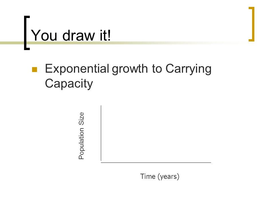 You draw it! Exponential growth to Carrying Capacity Time (years) Population Size