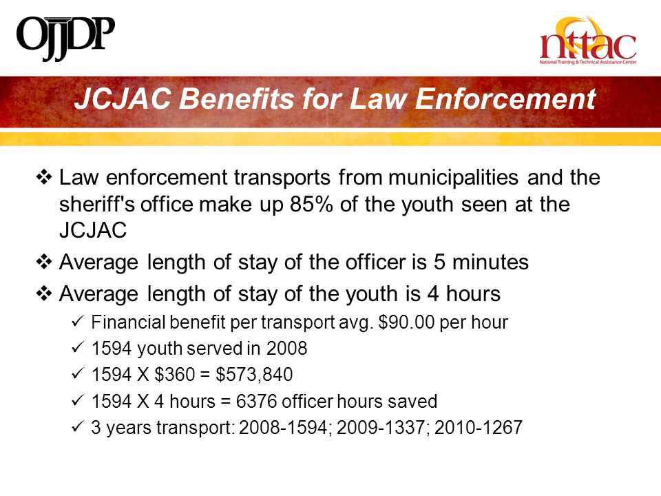JCJAC Benefits for Law Enforcement  Law enforcement transports from municipalities and the sheriff s office make up 85% of the youth seen at the JCJAC  Average length of stay of the officer is 5 minutes  Average length of stay of the youth is 4 hours Financial benefit per transport avg.