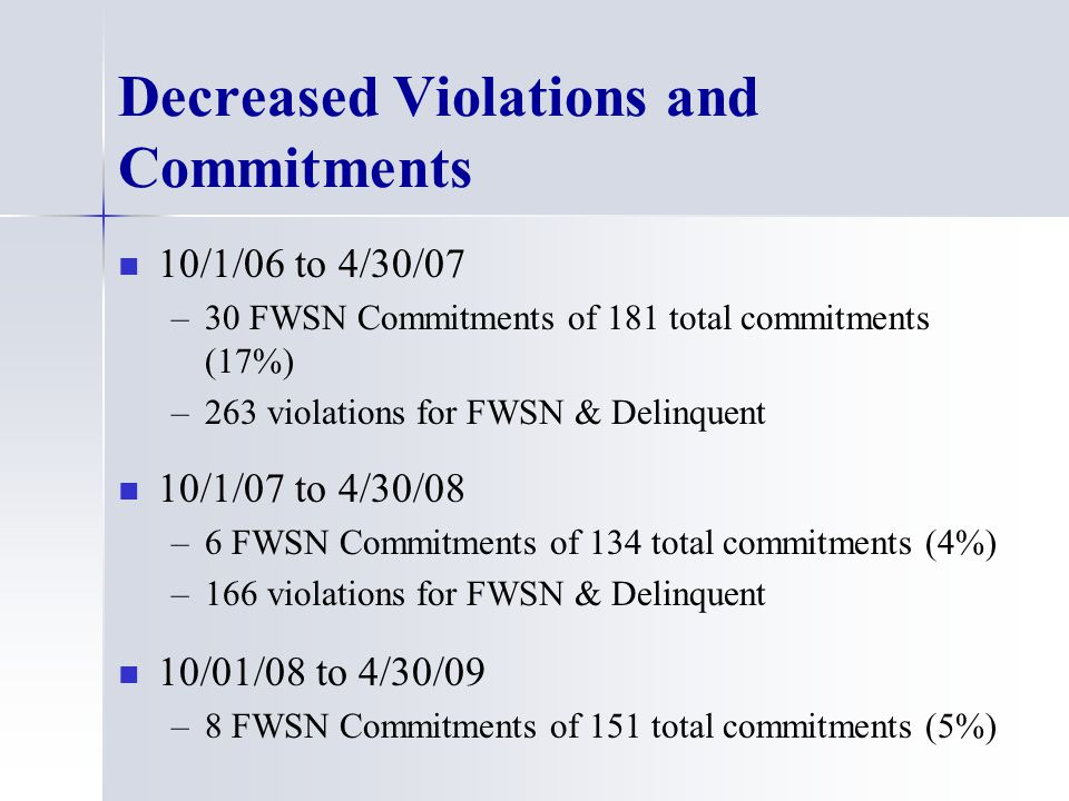 Decreased Violations and Commitments 10/1/06 to 4/30/07 – –30 FWSN Commitments of 181 total commitments (17%) – –263 violations for FWSN & Delinquent 10/1/07 to 4/30/08 – –6 FWSN Commitments of 134 total commitments (4%) – –166 violations for FWSN & Delinquent 10/01/08 to 4/30/09 – –8 FWSN Commitments of 151 total commitments (5%)