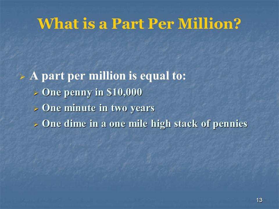 13 What is a Part Per Million.
