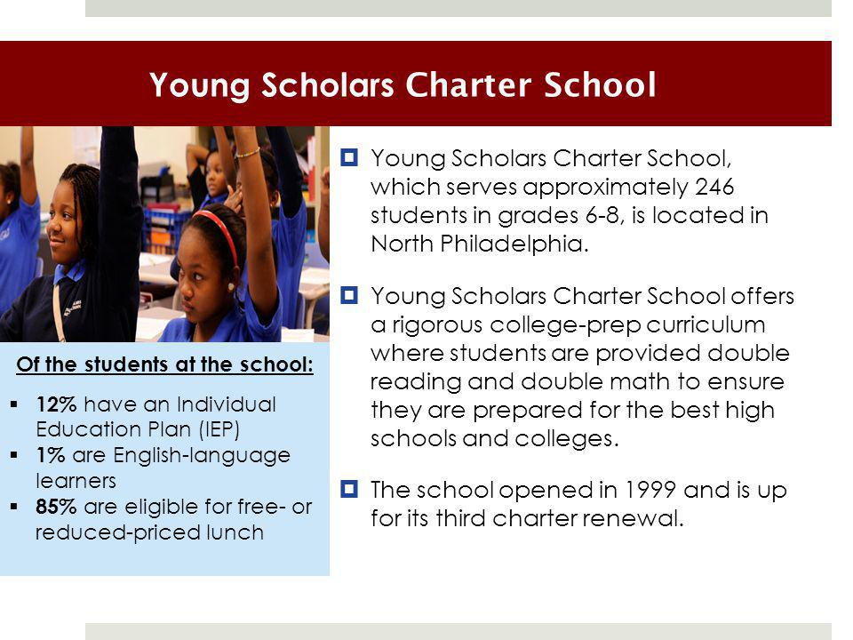 Young Scholars Charter School  Young Scholars Charter School, which serves approximately 246 students in grades 6-8, is located in North Philadelphia.