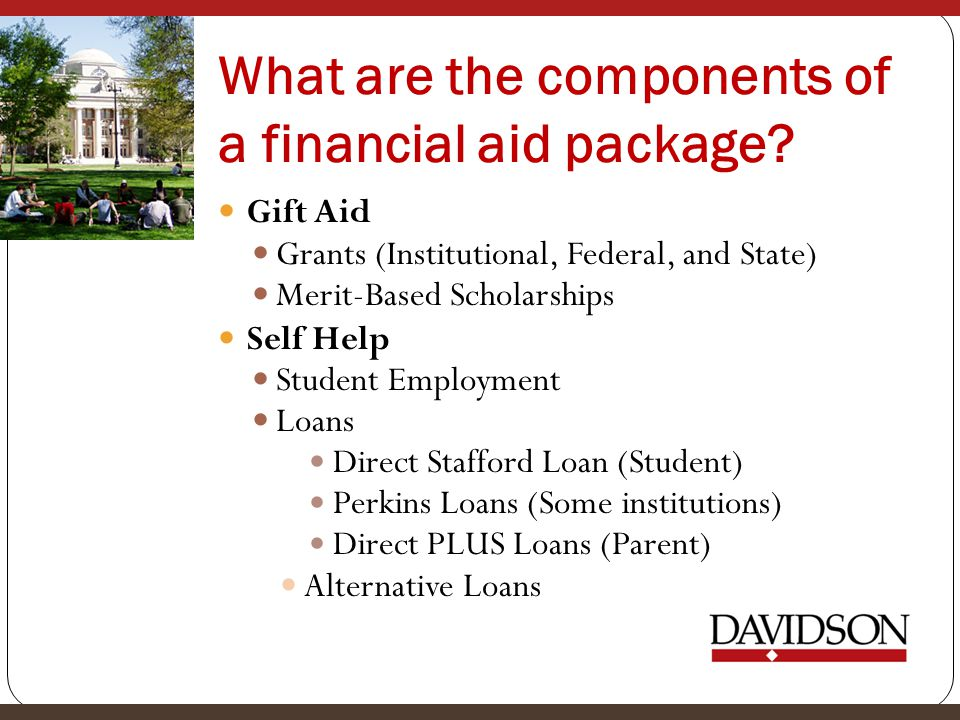 What are the components of a financial aid package.