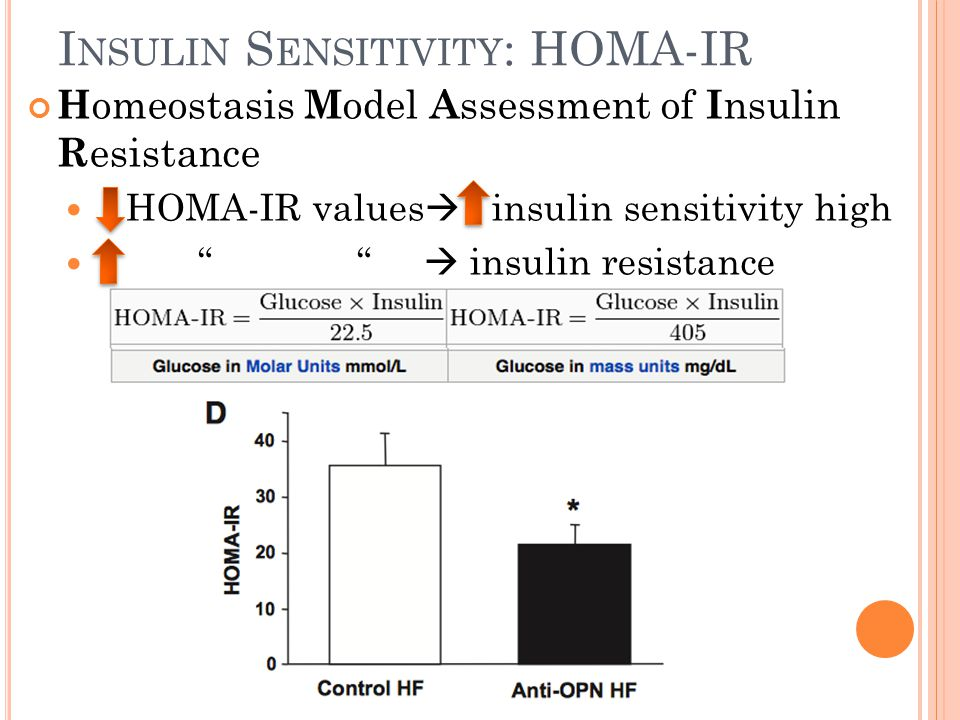 "I NSULIN S ENSITIVITY : HOMA-IR H omeostasis M odel A ssessment of I nsulin R esistance HOMA-IR values  insulin sensitivity high "" ""  insulin resist"