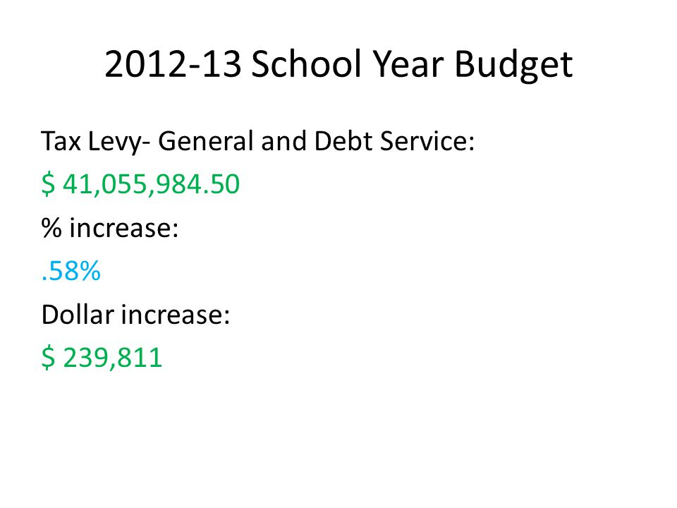2 2012-13 School Year Budget Tax Levy- General and Debt Service: $  41,055,984.50 % increase:.58% Dollar increase: $ 239,811