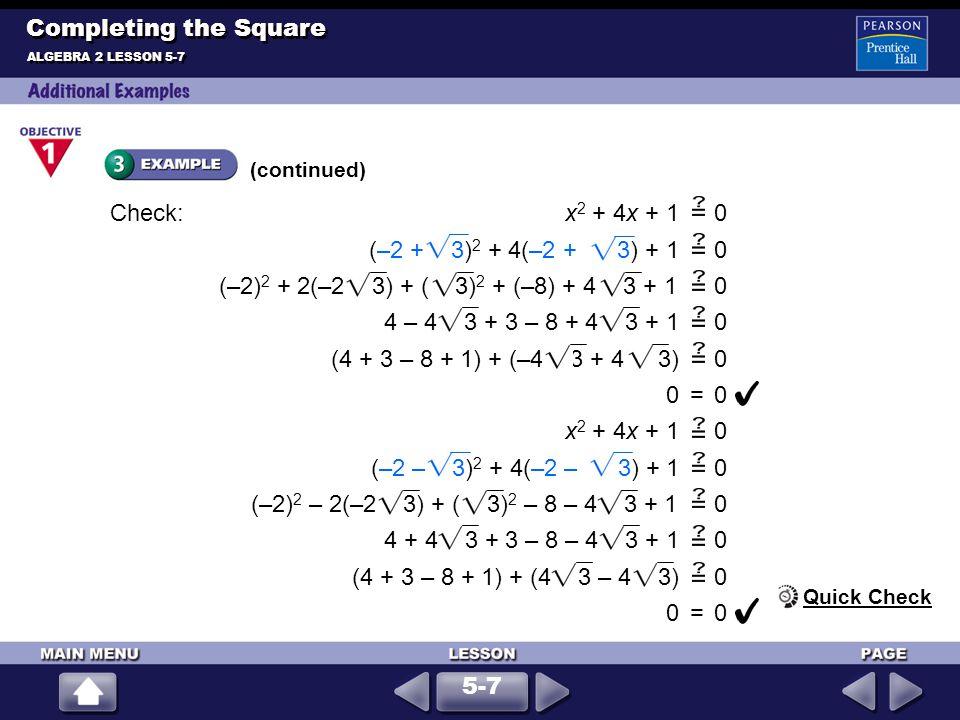 Solve x 2 + 6x + 12 = 0.
