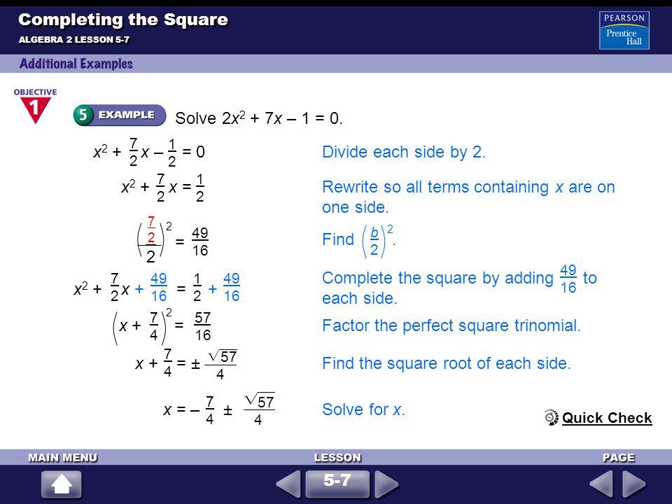 Write y = x 2 + 5x + 2 in vertex form.