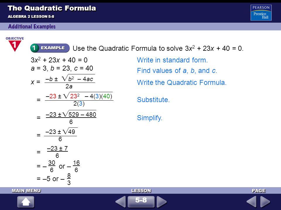 Solve 3x 2 + 2x = –4.
