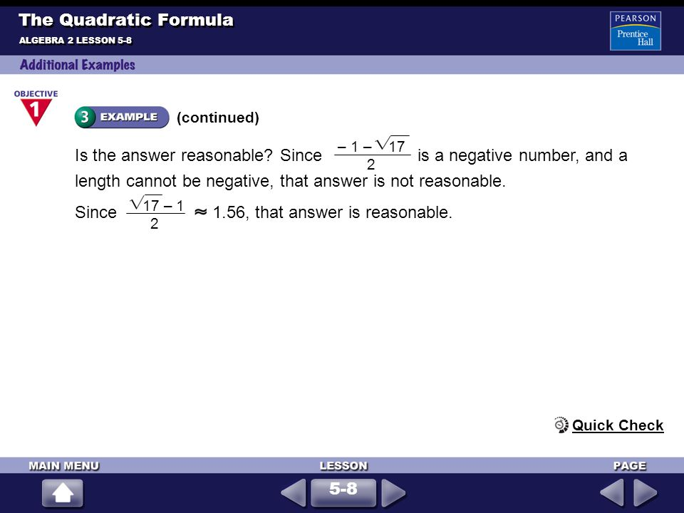 Determine the type and number of solutions of x 2 + 5x + 10 = 0.