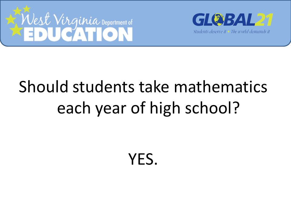 Should students take mathematics each year of high school? YES.