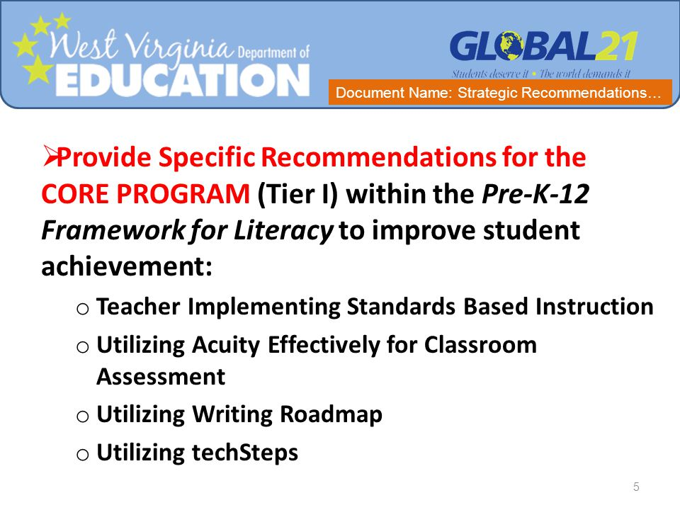  Provide a Process for System Monitoring of Implementation of Specific Recommendations for CORE PROGRAM at the school level.