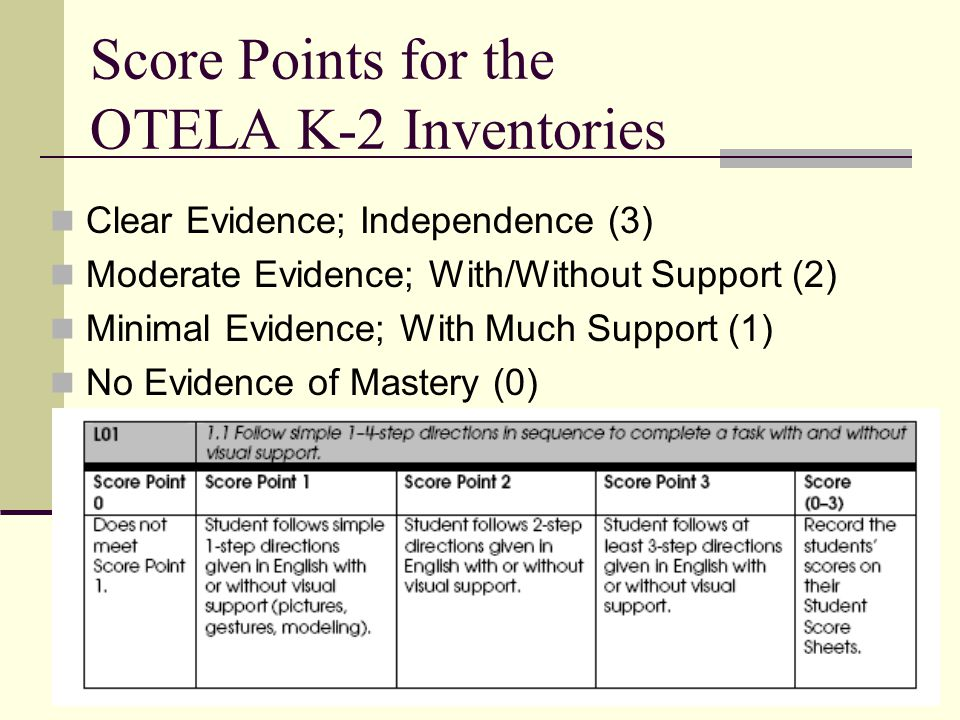 Useful Administration Tips Read Quick Start Guide Review Inventories for each grade band as appropriate Make a copy of the PAL list for Test Administrator to keep track of which sections of the OTELA Inventory have been completed.