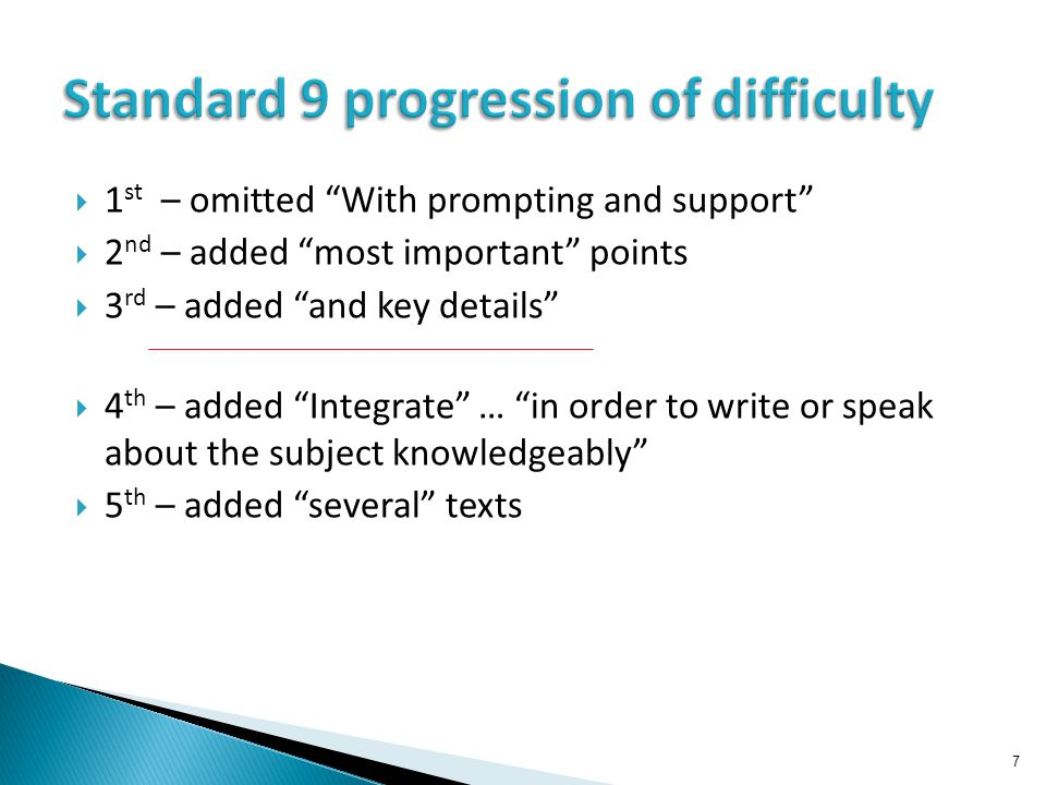  1 st – omitted With prompting and support  2 nd – added most important points  3 rd – added and key details  4 th – added Integrate … in order to write or speak about the subject knowledgeably  5 th – added several texts 7