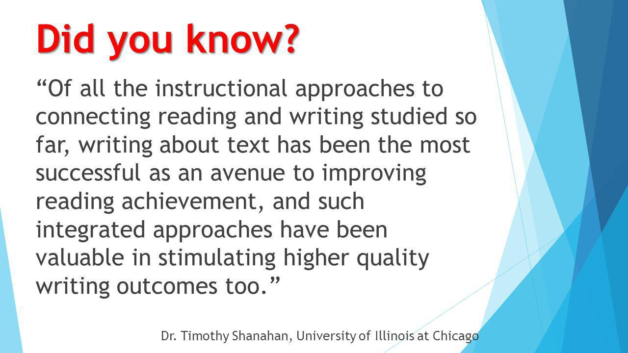 "The Reading Writing Connection ""…writing is treated as an equal partner to reading, and more than this, writing is assumed to be the vehicle through w"