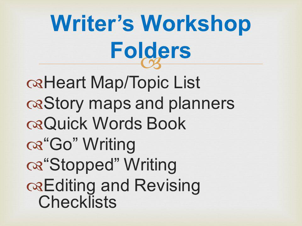   Heart Map/Topic List  Story maps and planners  Quick Words Book  Go Writing  Stopped Writing  Editing and Revising Checklists Writer's Workshop Folders