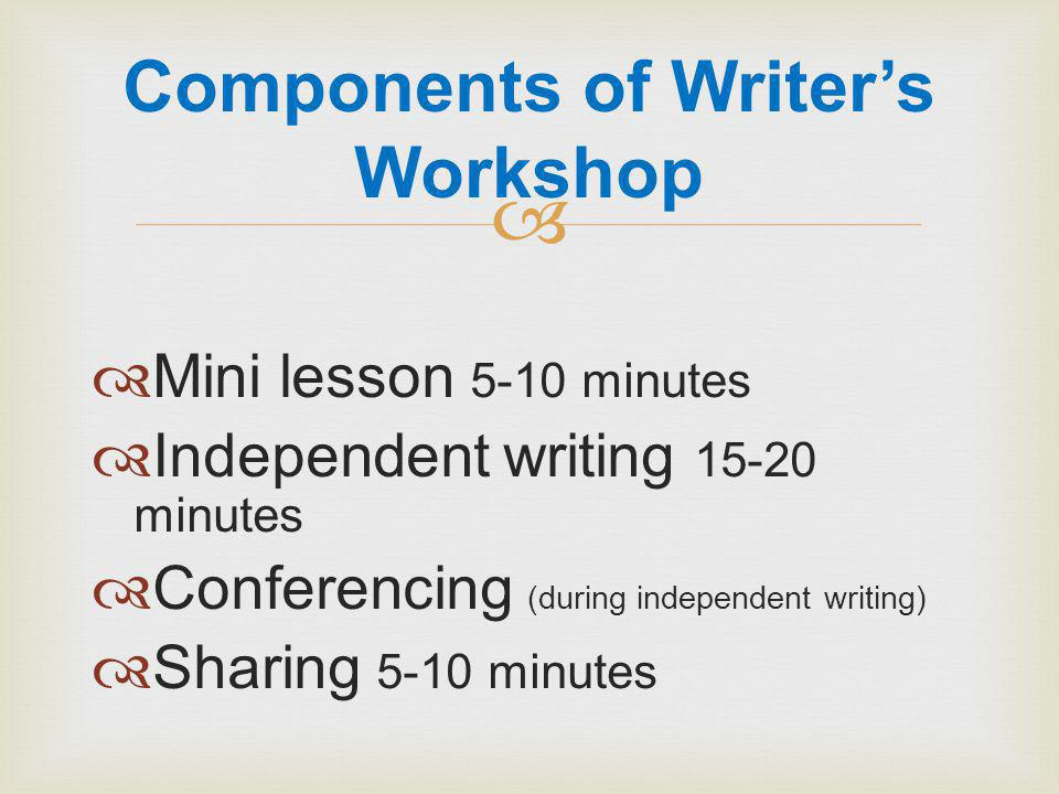   Mini lesson 5-10 minutes  Independent writing minutes  Conferencing (during independent writing)  Sharing 5-10 minutes Components of Writer's Workshop