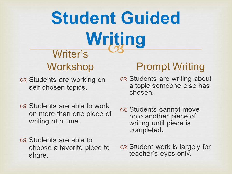  Student Guided Writing Writer's Workshop  Students are working on self chosen topics.