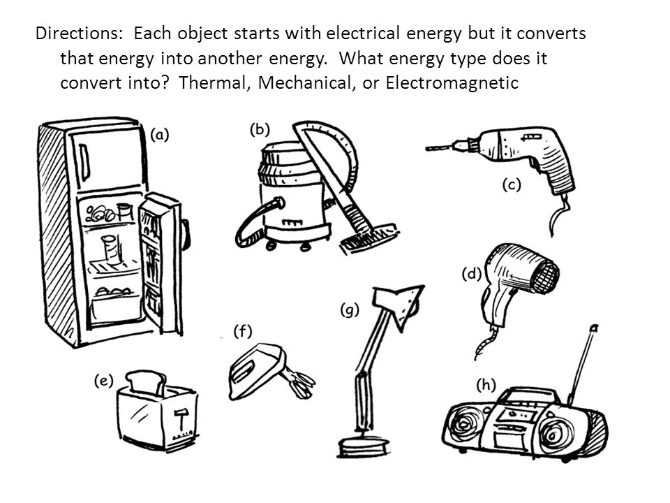 Directions: Each object starts with electrical energy but it converts that energy into another energy.