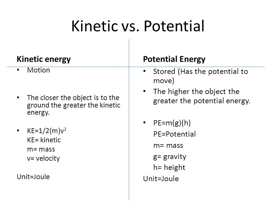Kinetic vs. Potential Kinetic energy Motion The closer the object is to the ground the greater the kinetic energy. KE=1/2(m)v 2 KE= kinetic m= mass v=