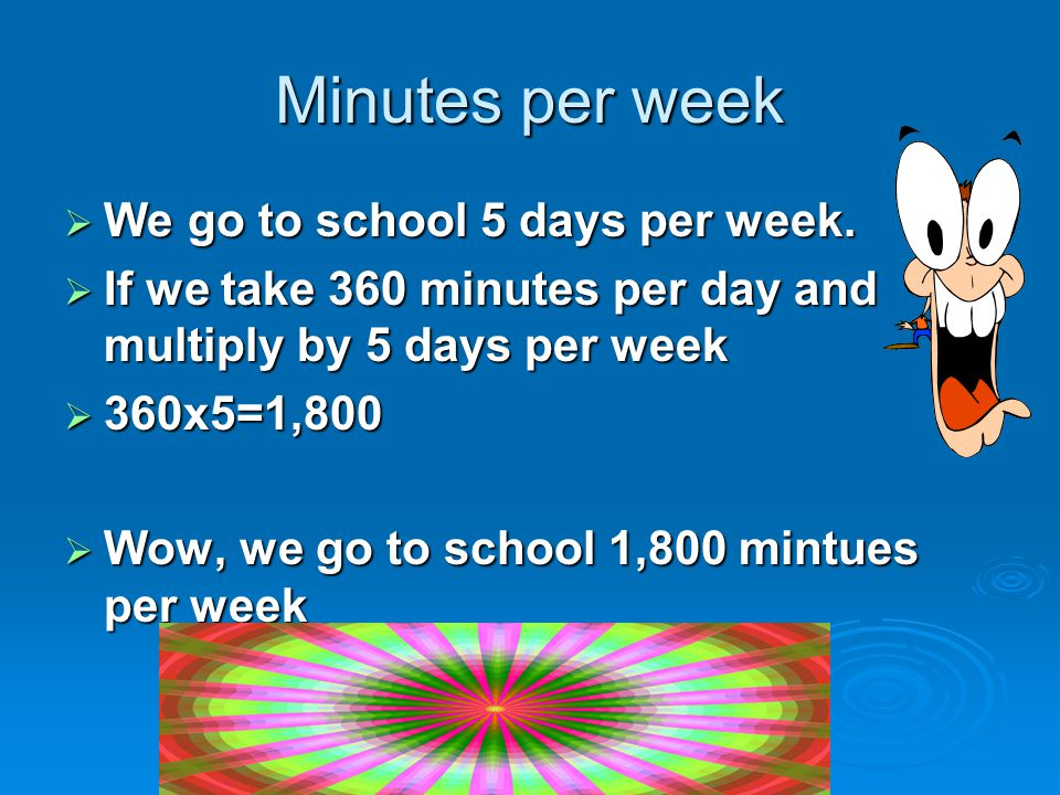 Minutes per week  We go to school 5 days per week.