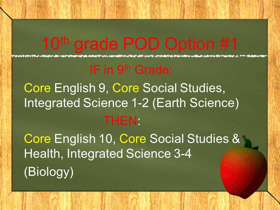 10 th grade POD Option #1 IF in 9 th Grade: Core English 9, Core Social Studies, Integrated Science 1-2 (Earth Science) THEN: Core English 10, Core Social Studies & Health, Integrated Science 3-4 (Biology)