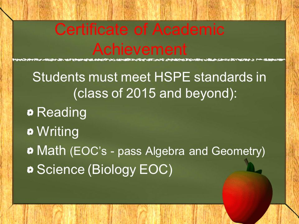 Certificate of Academic Achievement Students must meet HSPE standards in (class of 2015 and beyond): Reading Writing Math (EOC's - pass Algebra and Geometry) Science (Biology EOC)