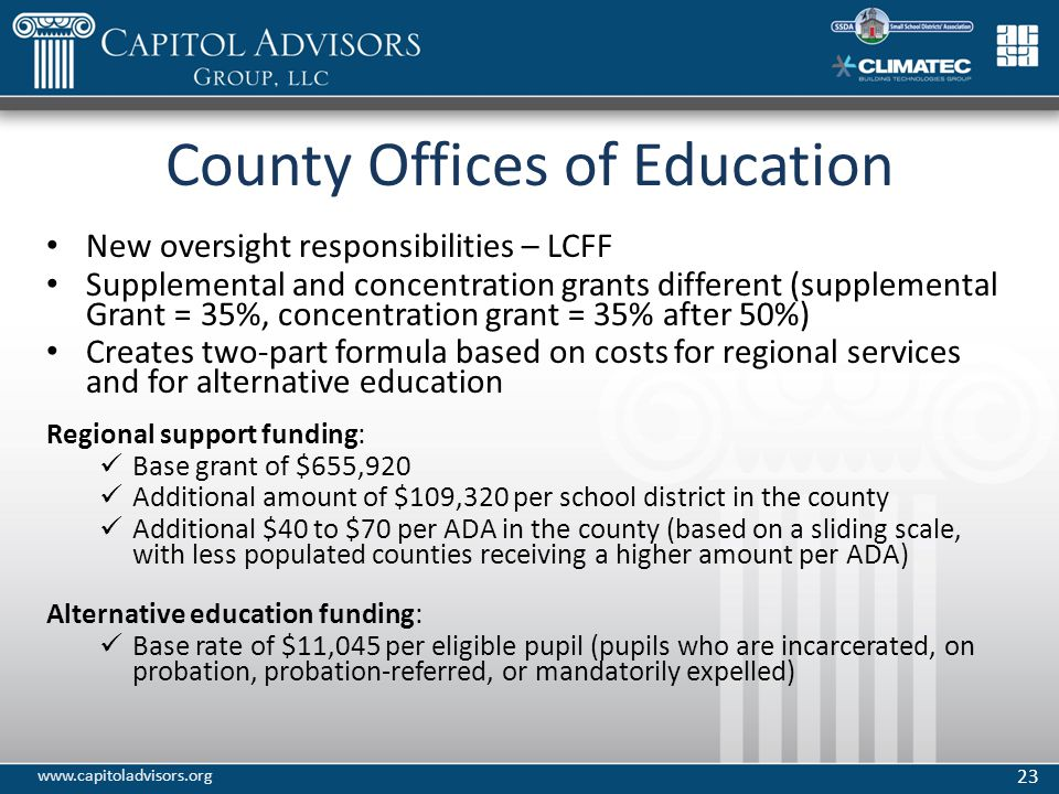 County Offices of Education New oversight responsibilities – LCFF Supplemental and concentration grants different (supplemental Grant = 35%, concentration grant = 35% after 50%) Creates two-part formula based on costs for regional services and for alternative education Regional support funding: Base grant of $655,920 Additional amount of $109,320 per school district in the county Additional $40 to $70 per ADA in the county (based on a sliding scale, with less populated counties receiving a higher amount per ADA) Alternative education funding: Base rate of $11,045 per eligible pupil (pupils who are incarcerated, on probation, probation-referred, or mandatorily expelled) 23 www.capitoladvisors.org