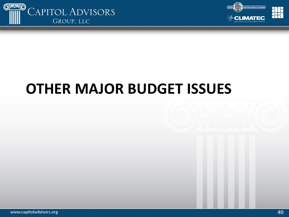 OTHER MAJOR BUDGET ISSUES 40 www.capitoladvisors.org