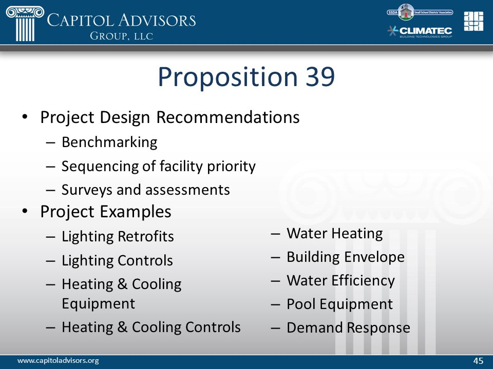 Proposition 39 Project Design Recommendations – Benchmarking – Sequencing of facility priority – Surveys and assessments Project Examples – Lighting Retrofits – Lighting Controls – Heating & Cooling Equipment – Heating & Cooling Controls – Water Heating – Building Envelope – Water Efficiency – Pool Equipment – Demand Response 45 www.capitoladvisors.org