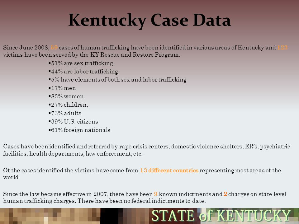 Kentucky Case Data Since June 2008, 59 cases of human trafficking have been identified in various areas of Kentucky and 123 victims have been served by the KY Rescue and Restore Program.