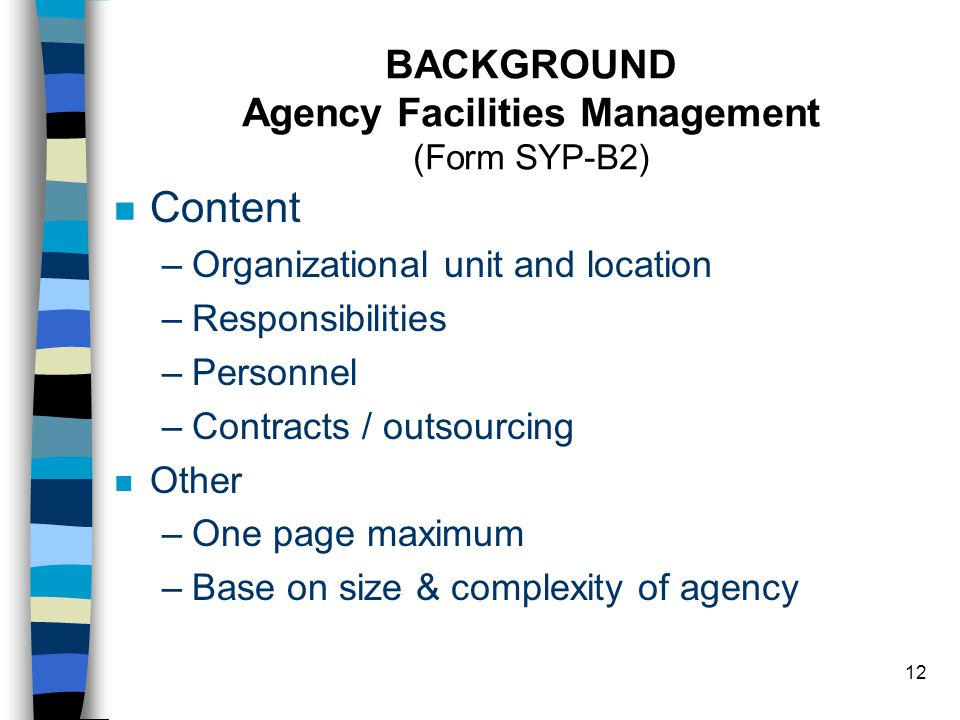 12 BACKGROUND Agency Facilities Management (Form SYP-B2) n Content –Organizational unit and location –Responsibilities –Personnel –Contracts / outsourcing n Other –One page maximum –Base on size & complexity of agency