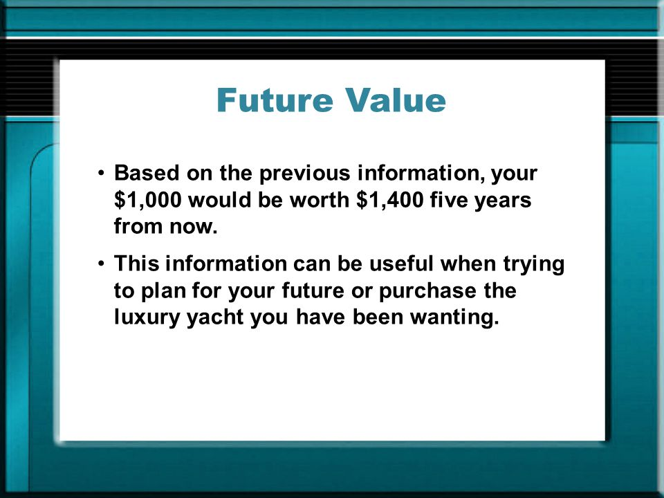 Future Value Based on the previous information, your $1,000 would be worth $1,400 five years from now.