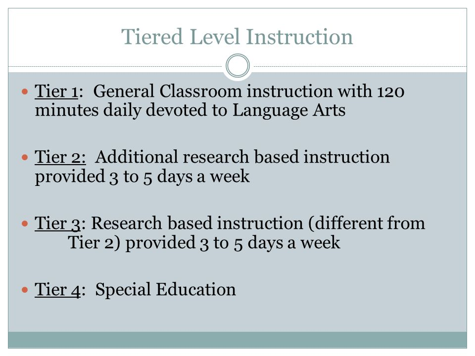 Tiered Level Instruction Tier 1: General Classroom instruction with 120 minutes daily devoted to Language Arts Tier 2: Additional research based instruction provided 3 to 5 days a week Tier 3: Research based instruction (different from Tier 2) provided 3 to 5 days a week Tier 4: Special Education