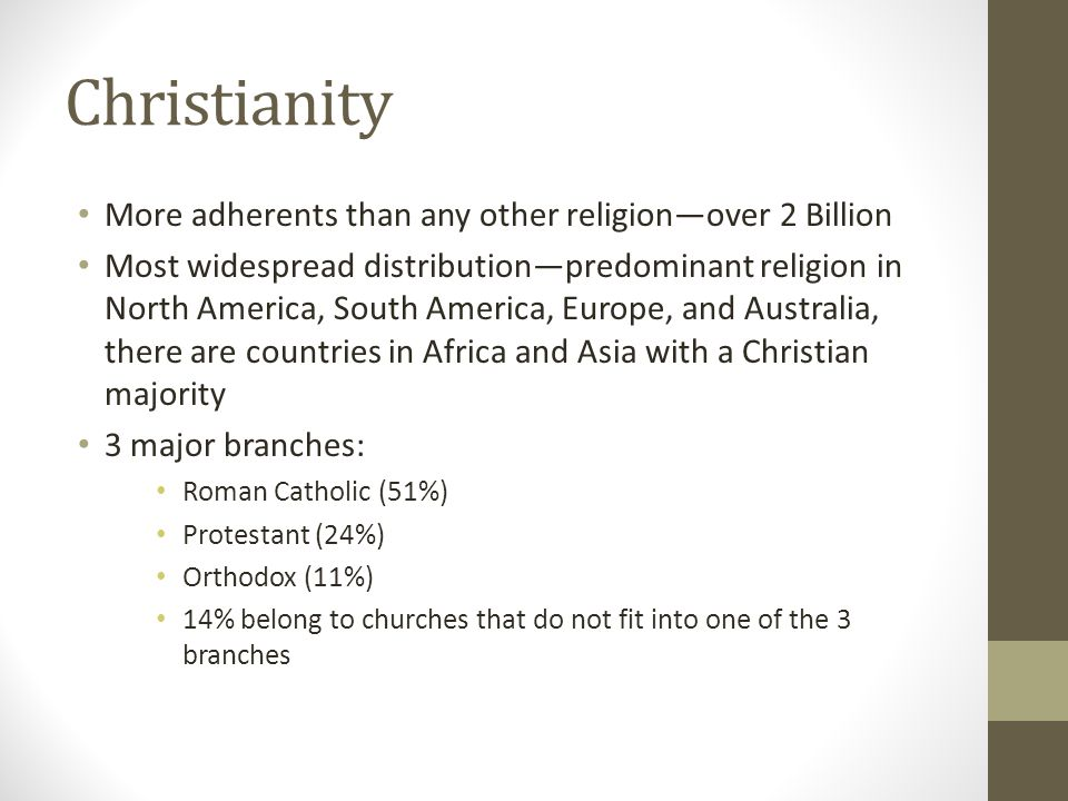 Christianity More adherents than any other religion—over 2 Billion Most widespread distribution—predominant religion in North America, South America,