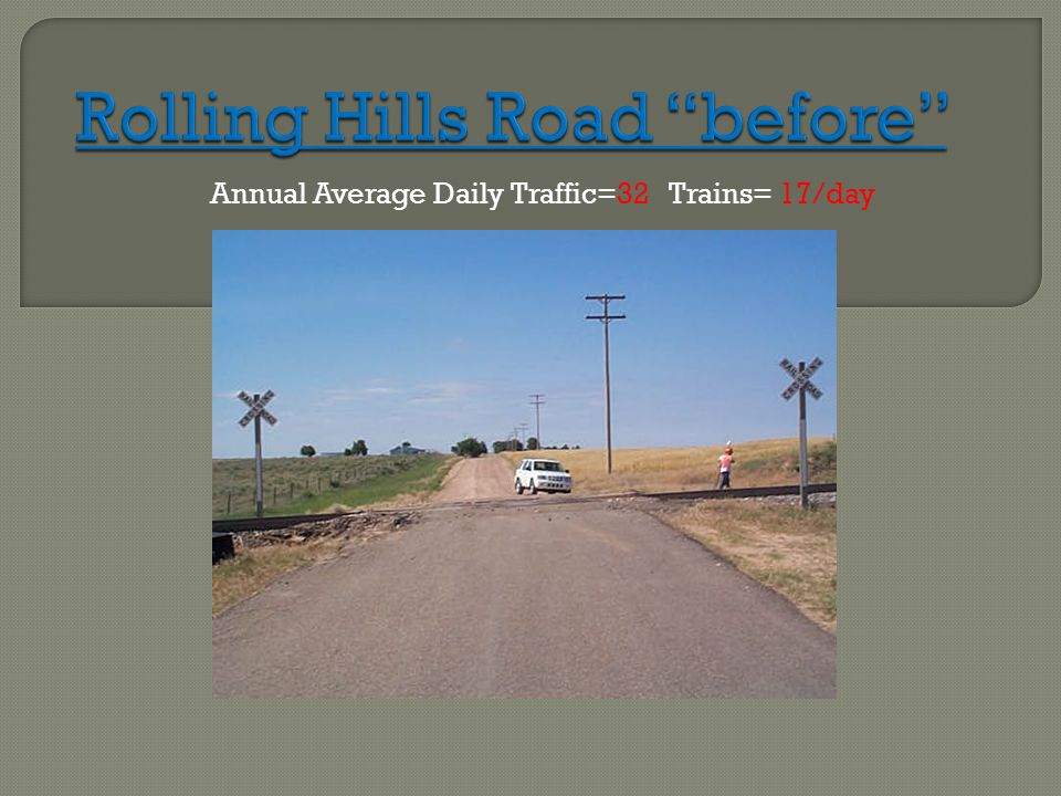 Annual Average Daily Traffic=32 Trains= 17/day