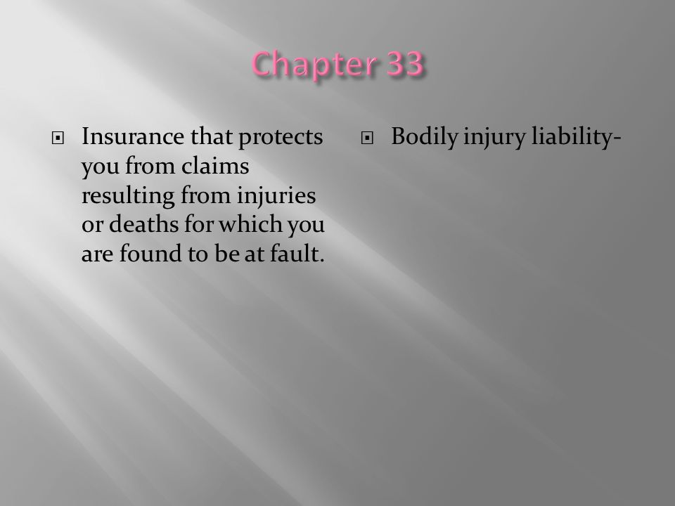  Insurance that protects you from claims resulting from injuries or deaths for which you are found to be at fault.  Bodily injury liability-