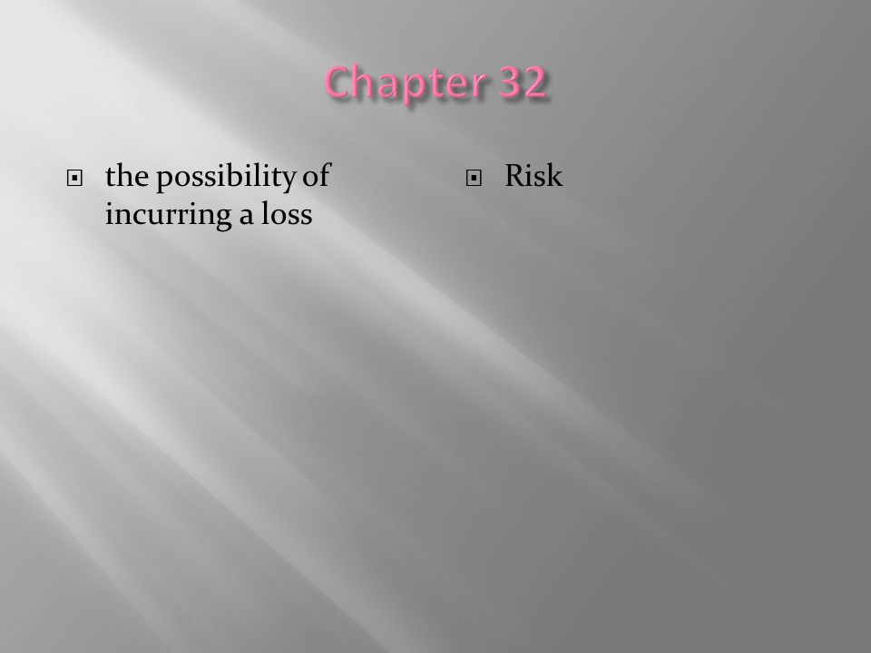  the possibility of incurring a loss  Risk