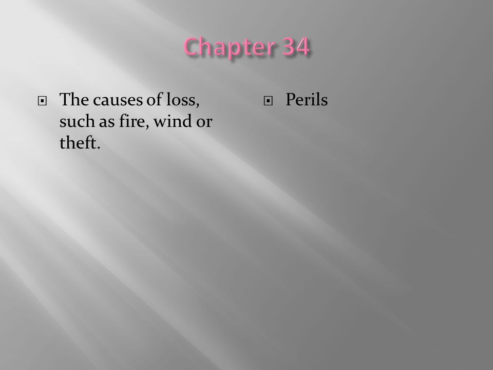  The causes of loss, such as fire, wind or theft.  Perils