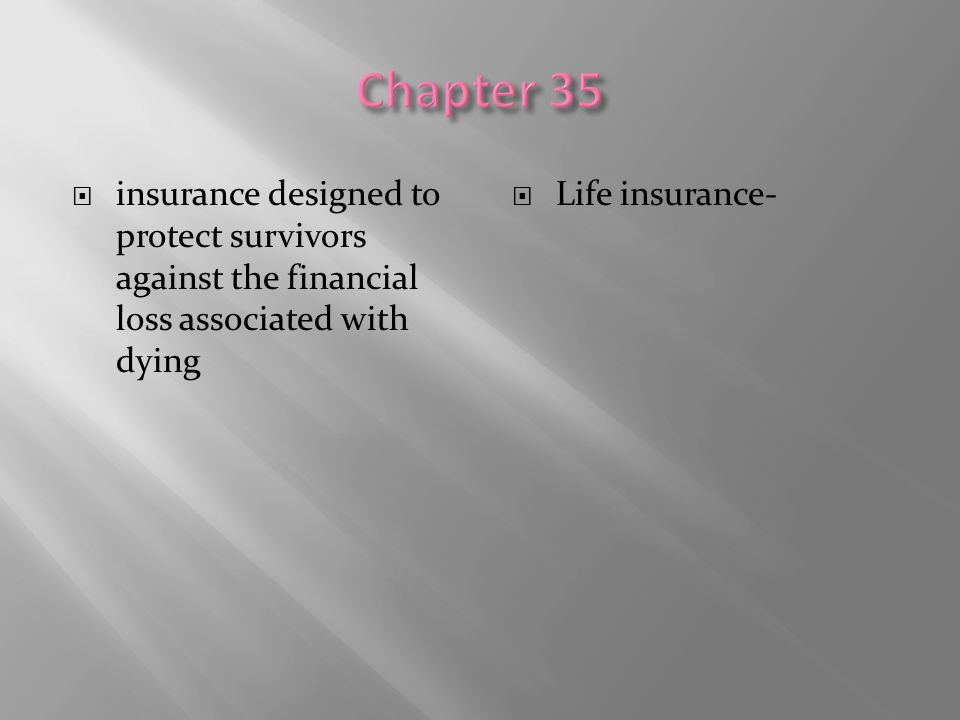  insurance designed to protect survivors against the financial loss associated with dying  Life insurance-