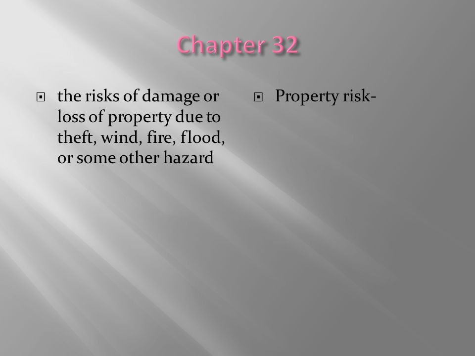  the risks of damage or loss of property due to theft, wind, fire, flood, or some other hazard  Property risk-