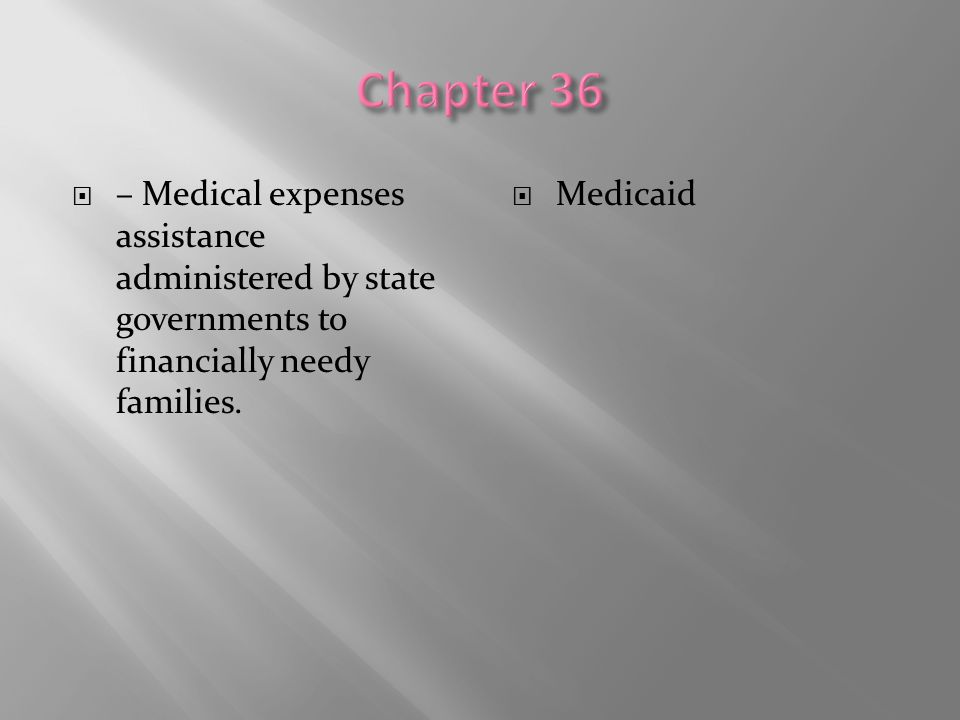  – Medical expenses assistance administered by state governments to financially needy families.  Medicaid