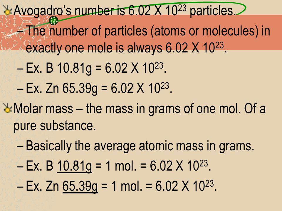 Mole, Molar Mass, and Avogadro's number all help describe an element.