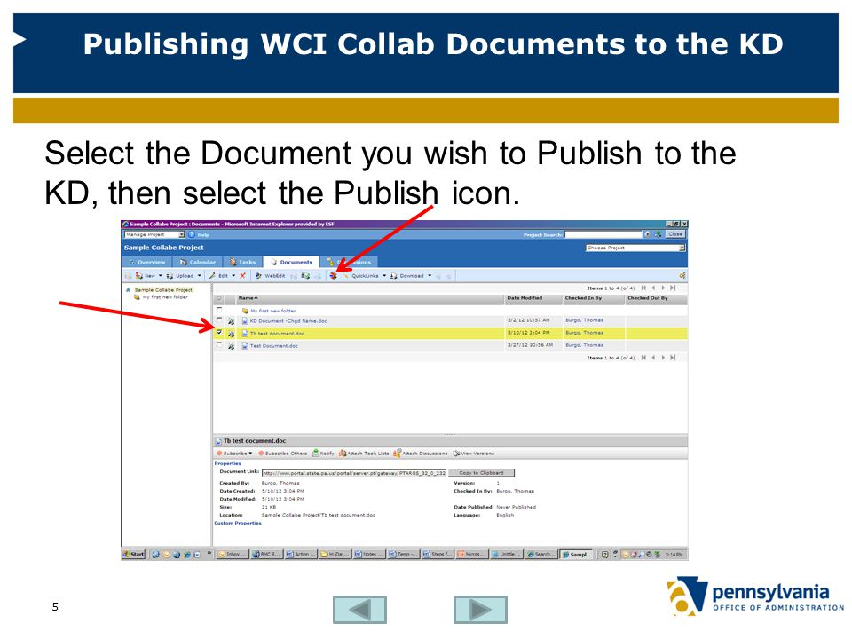 Publishing WCI Collab Documents to the KD Select the Browse button to choose the target folder in the KD.