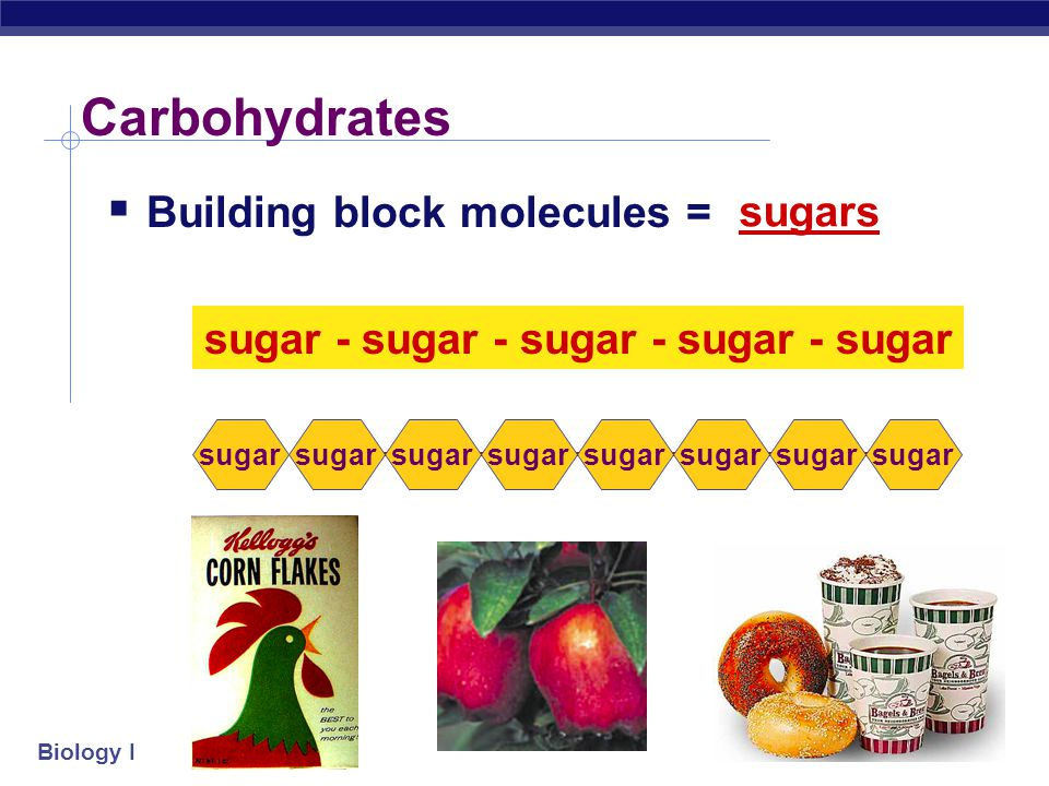 Biology I Carbohydrates: OH H H HO CH 2 OH H H H OH O Energy molecules