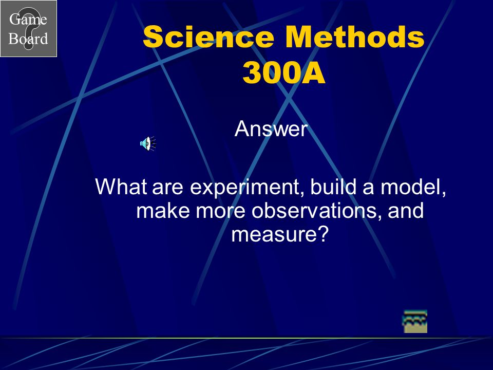 Game Board Science Methods 300 Things a scientist does to test their hypothesis.