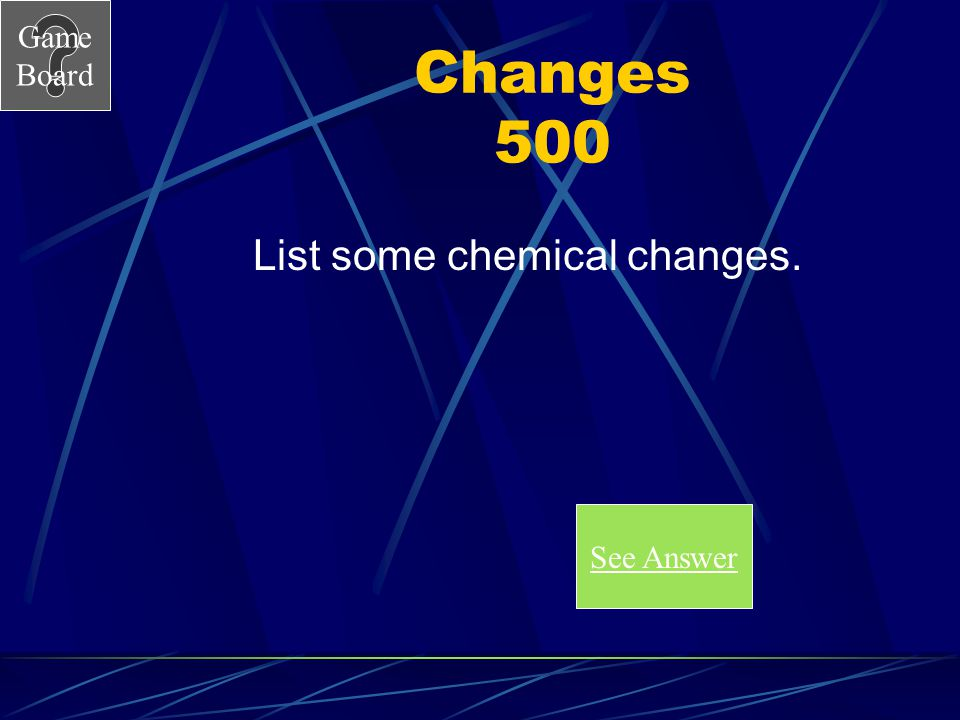 Game Board Changes 400A What are chemical changes? Score Board