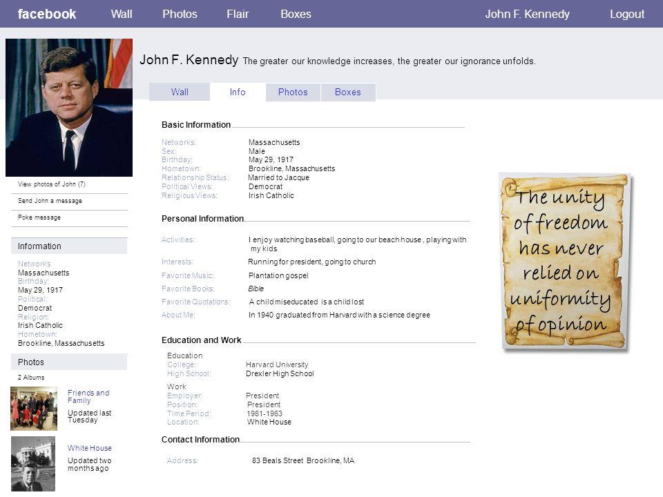 Personal Information facebook John F.